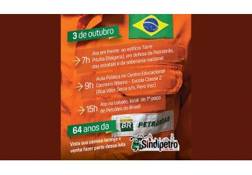 Sindipetro Bahia convoca categoria para atos nesta terça, 3 de outubro