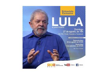 'Não está certo que a gente vai ter eleição em 2018', diz Lula em entrevista exclusiva à TVE Bahia