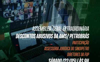 AGE virtual no dia 22/05 vai tratar sobre os descontos abusivos da AMS/ Petrobrás. Veja convocação do Sindipetro Bahia